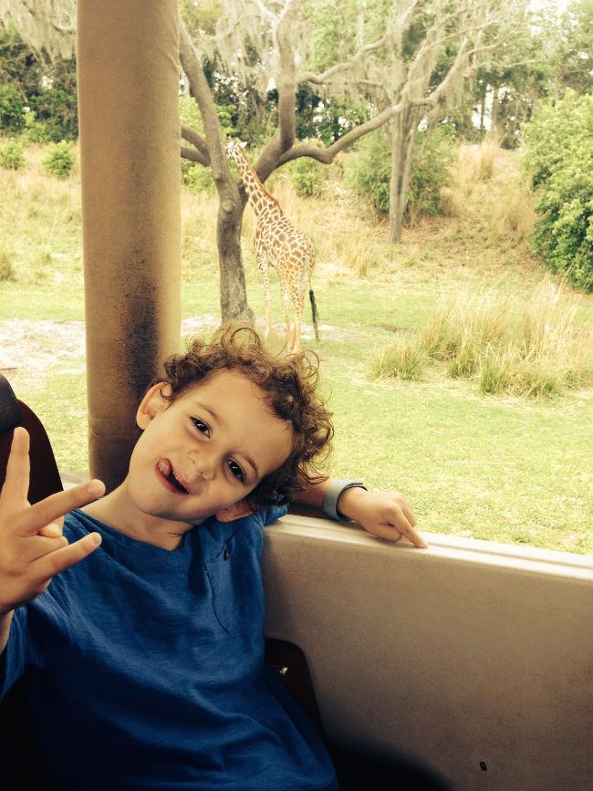 a pose do rapaz, pode? e uma girafinha bem feliz lá atrás.